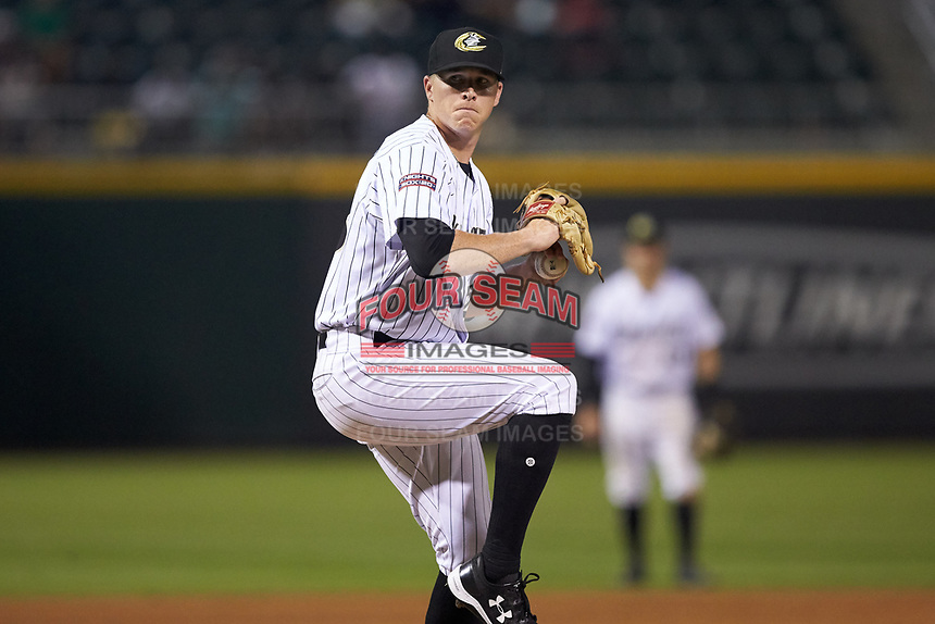 Charlotte Knights relief pitcher Colton Turner (28) in action against the Indianapolis Indians at BB&T BallPark on May 26, 2018 in Charlotte, North Carolina. The Indians defeated the Knights 6-2.  (Brian Westerholt/Four Seam Images)
