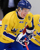 Gabriel Landeskog (Sweden - 12) - Sweden's Under-20 team defeated the Harvard University Crimson 2-1 on Monday, November 1, 2010, at Bright Hockey Center in Cambridge, Massachusetts.