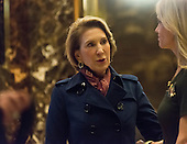 Carly Fiorina (L) and Kellyanne Conway (R) say goodby in the lobby of Trump Tower following Ms. Fiorina's meeting with President-elect Donald Trump in New York, NY, USA on December 12, 2016. <br /> Credit: Albin Lohr-Jones / Pool via CNP