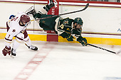 Connor Moore (BC - 7), Matt Alvaro (UVM - 25) - The Boston College Eagles defeated the University of Vermont Catamounts 7-4 on Saturday, March 11, 2017, at Kelley Rink to sweep their Hockey East quarterfinal series.The Boston College Eagles defeated the University of Vermont Catamounts 7-4 on Saturday, March 11, 2017, at Kelley Rink to sweep their Hockey East quarterfinal series.