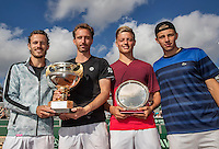 The Hague, Netherlands, 31 July, 2016, Tennis,  The Hague Open, Doubles Final: Winners  Matwe Middelkoop (NED) / Wesley Koolhof (NED) (L) with the trophy after winning the titel, richt Tim van Rijthoven (NED) and Tallon Griekspoor (NED)<br /> Photo: Henk Koster/tennisimages.com