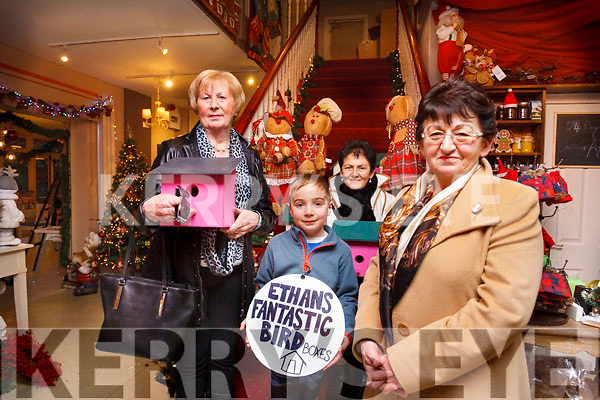 Rose Hanlon of Listowel (left), and sisters Kitty and Mairead Kearney of Moyvane  admires Ethan Ward Higgins creation of Bird boxes at Nana Bea's Cafe and Gift store, Castleisland where all profits are going to a Christmas fund raising appeal in aid of the Kerry Cork cancer link bus.