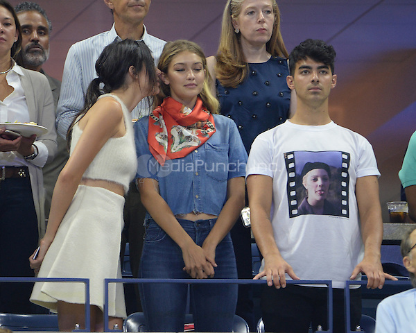FLUSHING NY- SEPTEMBER 08: Kendall Jenner, Gigi Hidid and Joe Jonas are sighted watching Serena Williams Vs Venus Williams on Arthur Ashe Stadium at the USTA Billie Jean King National Tennis Center on September 8, 2015 in Flushing Queens. Credit: mpi04/MediaPunch