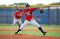 GCL Twins starting pitcher Carlos Suniaga (62) delivers a pitch during the second game of a doubleheader against the GCL Rays on July 18, 2017 at Charlotte Sports Park in Port Charlotte, Florida.  GCL Twins defeated the GCL Rays 4-2 after the game was postponed in the second inning to the following day at Charlotte Sports Park in Port Charlotte, Florida.  (Mike Janes/Four Seam Images)
