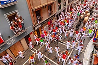 Europe,Spain,Pamplona,San Fermin festival 2018, Encierro, 8 am the bulls are released and run in the 849 m along main narrow street