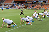 Houston, TX - Saturday July 08, 2017: Portland Thorns FC  warming up prior to a regular season National Women's Soccer League (NWSL) match between the Houston Dash and the Portland Thorns FC at BBVA Compass Stadium.