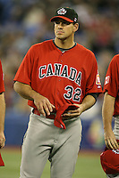 March 7, 2009:  Pitcher Vince Perkins (32) of Canada during the first round of the World Baseball Classic at the Rogers Centre in Toronto, Ontario, Canada.  Team USA defeated Canada 6-5 in both teams opening game of the tournament.  Photo by:  Mike Janes/Four Seam Images