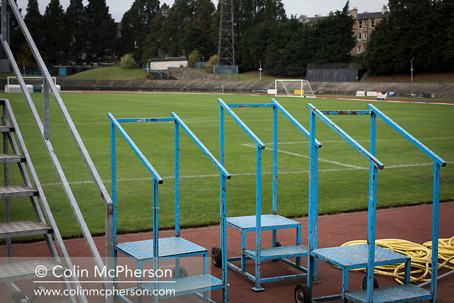 An interior view ground showing athletics equipment at Meadowbank Stadium in Edinburgh, before Edinburgh City played host to Spartans in a Lowland League fixture. The host won the match 1-0 with a late goal by Ousman See, despite playing for the last 30 minutes with 10 men after Ross Allum was sent off. The wind kept the reigning champions side clear at the top of the league.