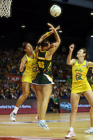 17.10.2012 Australia's Mo'onia Gerrard, Rebecca Bulley and South Africa's Chrisna Bootha in action during the Australia v South Africa netball test match as part of the Quad Series played in Newcastle Australia. Mandatory Photo Credit ©Michael Bradley.