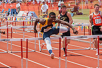 John Burroughs junior Ezekiel Elliott sprints to victory in the 110-meter hurdles in Class 3 at the 2012 Missouri High School State Track and Field Championships in Jefferson City, MO.