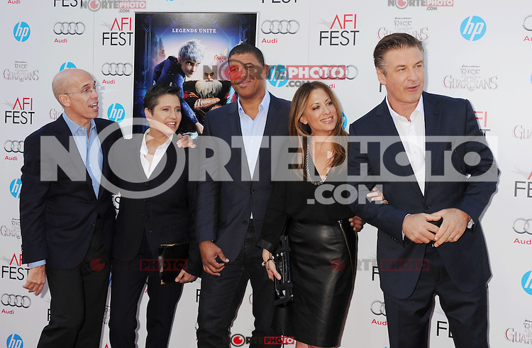 HOLLYWOOD, CA - NOVEMBER 04: Jeffrey Katzenberg, Nancy Bernstein, Peter Ramsey, Christina Steinberg and Alec Baldwin arrive at the premiere of 'Rise of the Guardians' during the 2012 AFI Fest presented by Audi at Grauman's Chinese Theatre on November 4, 2012 in Hollywood, California.PAP1112JP299.PAP1112JP299.