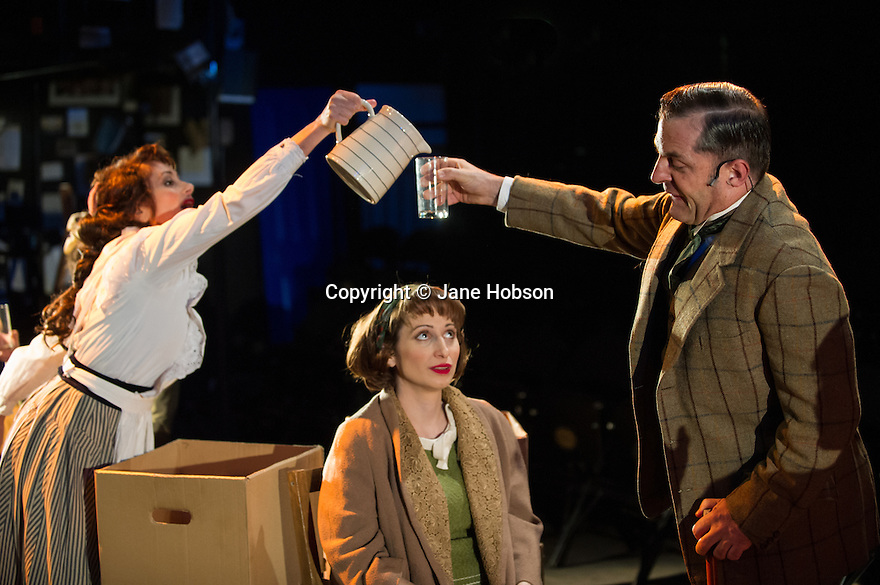 London, UK. 21.02.2014. THE A TO Z OF MRS P has its world premiere at Southwark Playhouse.  The story behind the handy, all-purpose, pocket-sized A-Z Street Guide is written by Diane Samuels (book) and Gwyneth Herbert (music and lyrics). <br />  Starring ISY SUTTIE (Peep Show / Shameless) in her first musical, as the pioneering Mrs P; with Tony Award winner FRANCES RUFFELLE (Les Miserables, Pippin, Piaf) as her emotionally fragile mother; and Olivier Award winner MICHAEL MATUS (Martin Guerre, The Baker's Wife, The Sound Of Music) as Phyllis&rsquo;s beloved and impossible father, the map publisher Sandor Gross. Directed by Sam Buntrock. Picture shows: Frances Ruffelle (Bella Gross), Isy Suttie (Mrs P) and Michael Matus (Sandor Gross). <br /> Photograph &copy; Jane Hobson.