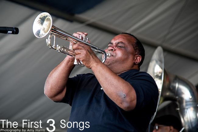 Kenneth Terry of the Forgotten Souls Brass Band performs during the New Orleans Jazz & Heritage Festival in New Orleans, LA.