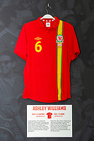 Ashley Williams' 2012/13 Wales home shirt is displayed at The Art of the Wales Shirt Exhibition at St Fagans National Museum of History in Cardiff, Wales, UK. Monday 11 November 2019