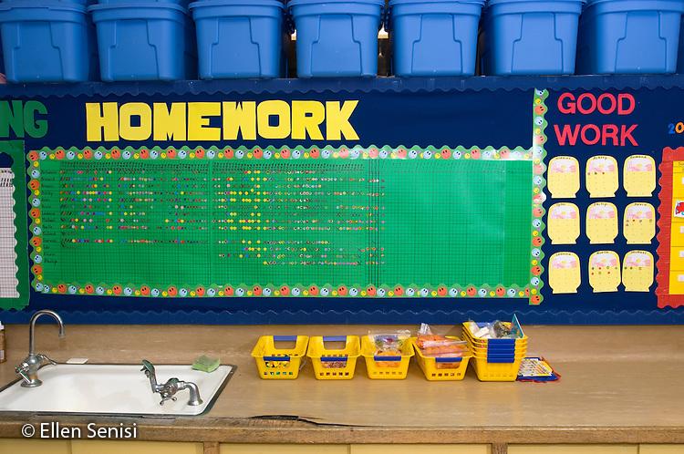 Schenectady, NY.Yates Arts-in-Education Magnet School (urban public elementary school).Homework and behavior charts..© Ellen B. Senisi