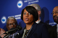 January 17, 2013  (Washington, DC)  Baltimore Mayor Stephanie Rawlings-Blake speaks during a news conference before the start of the U.S. Conference of Mayors 81st annual winter meeting in Washington. Philadelphia Mayor Michael Nutter at right.  (Photo by Don Baxter/Media Images International)
