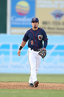 Jack Mayfield (2) of the Lancaster JetHawks in the field during a game against the High Desert Mavericks at The Hanger on May 19, 2015 in Lancaster, California. Lancaster defeated High Desert, 8-7. (Larry Goren/Four Seam Images)