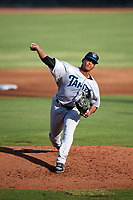 Tampa Tarpons starting pitcher Albert Abreu (36) delivers a pitch during a game against the Dunedin Blue Jays on June 2, 2018 at Dunedin Stadium in Dunedin, Florida.  Dunedin defeated Tampa 4-0.  (Mike Janes/Four Seam Images)