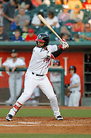 Lansing Lugnuts outfielder Freddy Rodriguez (31) at bat during a game against the Dayton Dragons at Cooley Law School Stadium on August 10, 2018 in Lansing, Michigan. Lansing defeated Dayton 11-4.  (Robert Gurganus/Four Seam Images)