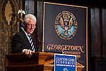 Bill Clinton, former US President, delivers remarks in Gaston Hall.