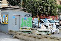Roma, 6 Luglio 2016<br /> Migranti Musulmani a Tor Pignattara, quartiere periferico e multietnico di Roma, per la preghiera di Eid al-Fitr che segna la fine del mese di digiuno del Ramadan.<br /> Muslims Migrant  in Torpignattara, a multiethnic suburb of Rome, for the prayer of Eid al-Fitr which marks the end of the Ramadan fasting month.