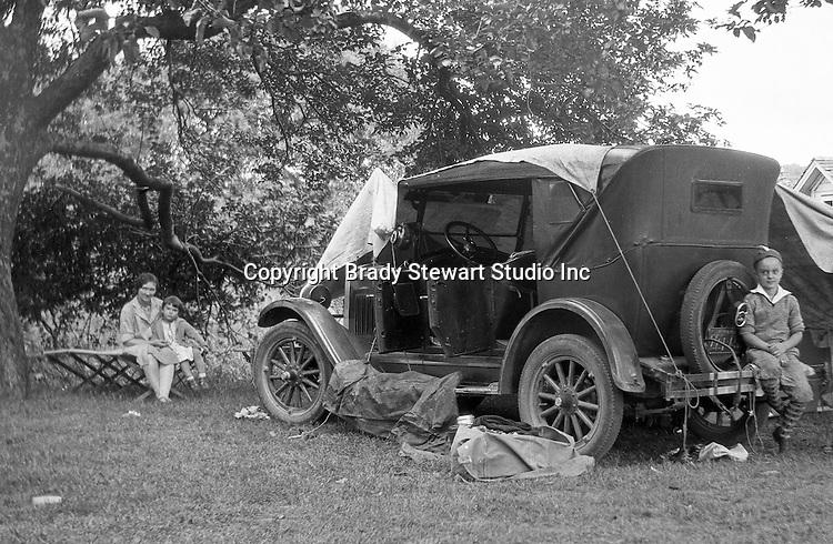 East Brady PA:  Stewart family taking break during a vacation trip to Lake Erie.  Stewart's were traveling in their 1926 Chevrolet Touring Car - 1927.  The route took them from Wilkinsburg to Brady's Bend via Rt 28. This vacation was different from many of the others.  Instead of vacationing near North East PA, they decided to vacation on Presque Isle on Lake Erie.  Brady Jr, Sarah and Sally in photo