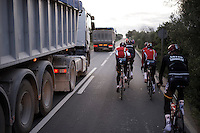 sometimes overtaking traffic can be pretty intimidating...<br /> <br /> Team Lotto-Soudal 2016 pre-season training camp<br /> <br /> Mallorca, december 2015