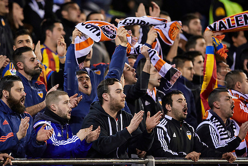 18.02.2016. Mestalla Stadium, Valencia, Spain. Europa League. Valencia versus Rapid Wien. Valencia Supporters celebrate a goal from their team