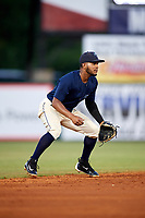 Mobile BayBears shortstop Alberto Triunfel (2) during a game against the Pensacola Blue Wahoos on April 25, 2017 at Hank Aaron Stadium in Mobile, Alabama.  Mobile defeated Pensacola 3-0.  (Mike Janes/Four Seam Images)