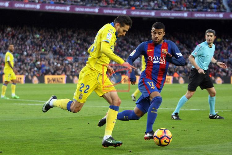 League Santander 2016/2017. Game: 18.<br /> FC Barcelona vs UD Las Palmas: 5-0.<br /> Helder vs Rafinha.