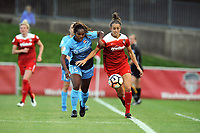 Boyds, MD - Saturday May 6, 2017: Kayla Mills, Havana Solaun during a regular season National Women's Soccer League (NWSL) match between the Washington Spirit and Sky Blue FC at Maureen Hendricks Field, Maryland SoccerPlex.