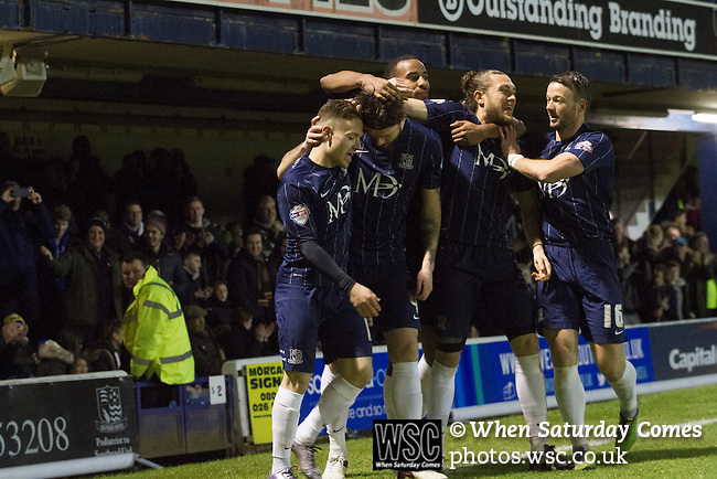 Southend United 1 Burton Albion 1, 22/02/2016. Roots Hall, League One. Home players celebrating the opening goal scored by Anthony Wordswoth (second left) as Southend United took on Burton Albion in a League 1 fixture at Roots Hall. Founded in 1906, Southend United moved into their current ground in 1955, the construction of which was funded by the club's supporters. Southend won this match by 3-1, watched by a crowd of 6503. Photo by Colin McPherson.