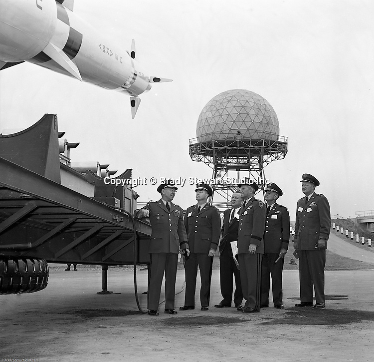 Pittsburgh PA:  US Army General Robert Wood and Staff touring the new radar systems and missiles installed at the Oakdale NIKE site - 1963. The Oakdale site became the command and control center for all the regional NIKE sites after the installation.  <br /> Brady Stewart Jr. was authorized to photograph the press conference and tour the new command center due to being a US Army staff photographer during WWII.