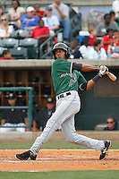 Augusta GreenJackets outfielder Johneshwy Fargas (17) at bat during a game against the Charleston Riverdogs at Joseph P.Riley Jr. Ballpark on April 15, 2015 in Charleston, South Carolina. Charleston defeated Augusta 8-0. (Robert Gurganus/Four Seam Images)