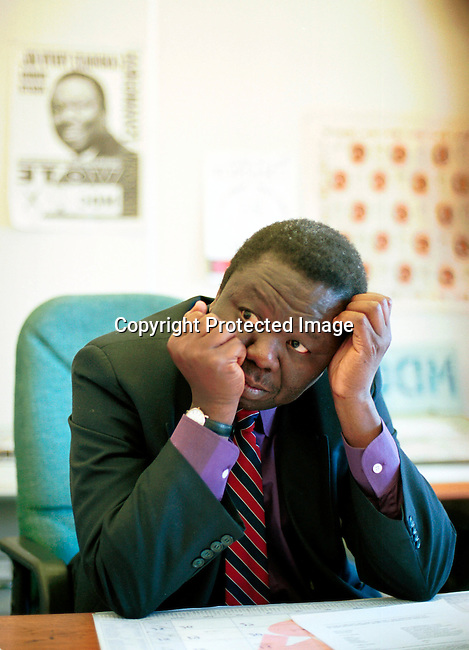 dicozim00109 Morgan Tsvangirai, the MDC (Movement for democratic change) leader, in his office in Harare a day after the parlamentary elections in Zimbabwe on June 24-25, 2000. Mr Tsvangirai is a serious threat to President Robert Mugabe in the upcoming presidental elections in 2002.  .©Per-Anders Pettersson/iAfrika Photos