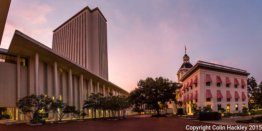 TALLAHASSEE, FLA. 7/13/15-Florida&rsquo;s Capitol plaza at sunset.<br />