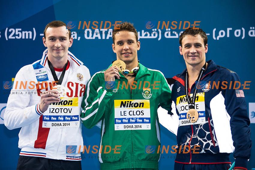 LE CLOS Chad RSA Gold Medal<br /> IZOTOV Danila RUS Silver Medal<br /> LOCHTE Ryan USA Bronze Medal<br /> Men's 200m Freestyle Final<br /> Doha Qatar 03-12-2014 Hamad Aquatic Centre, 12th FINA World Swimming Championships (25m). Nuoto Campionati mondiali di nuoto in vasca corta.<br /> Photo Giorgio Scala/Deepbluemedia/Insidefoto