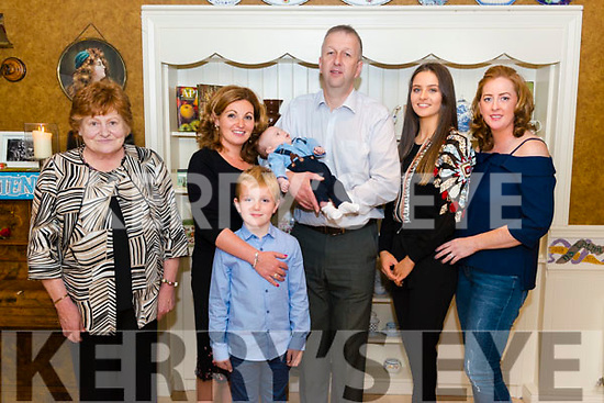 Marguerite Casey and Keen O'Sullivan from Beaufort celebrated christening of their son Fionn surrounded by friends and family in the Kate Kearney Cottage last Saturday. Pictured with Christine Casey, Ruairi O'Sullivan, Ciara O'Sullivan and Elaine Clifford.
