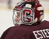 "Steve Estep (Colgate - 38) - the ""SG6"" on the back of Colgate player masks/helmets is for their teammate Spiro Goulakis who is currently being treated for Hodgkin's Lymphoma. - The Harvard University Crimson defeated the Colgate University Raiders 4-1 (EN) on Friday, February 15, 2013, at the Bright Hockey Center in Cambridge, Massachusetts."