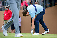 Ollie Schniederjans (USA) picks up his iron after his tee shot on 17 during round 3 of the Valero Texas Open, AT&amp;T Oaks Course, TPC San Antonio, San Antonio, Texas, USA. 4/22/2017.<br /> Picture: Golffile | Ken Murray<br /> <br /> <br /> All photo usage must carry mandatory copyright credit (&copy; Golffile | Ken Murray)