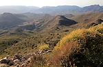 View westwards inland over valley of Rodalquilar, Cabo de Gata natural park, Almeria, Spain