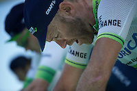 9-time (!) Canadian national TT champion Svein Tuft (CAN/Orica-GreenEDGE) &amp; teammates warming up to a tough TT<br /> <br /> stage 15 (iTT): Castelrotto-Alpe di Siusi 10.8km<br /> 99th Giro d'Italia 2016