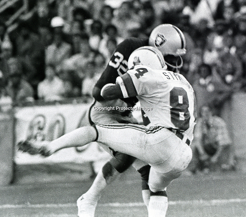 Raider's Jack Tatum hits Patriots receiver Darryl Stingley in 1978 pre-season game in Oakland..photo copyright 1978 Ron Riesterer/Oakland Tribune
