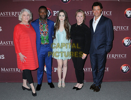 08 April 2019 - New York, New York - Rebecca Eaton, David Oyelowo, Lily Collins, Suzanne Simpson and Dominic West at Times Talk with cast of &quot;LES MISERABLES&quot; at the Times Center. <br /> CAP/ADM/LJ<br /> &copy;LJ/ADM/Capital Pictures