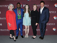 """08 April 2019 - New York, New York - Rebecca Eaton, David Oyelowo, Lily Collins, Suzanne Simpson and Dominic West at Times Talk with cast of """"LES MISERABLES"""" at the Times Center. <br /> CAP/ADM/LJ<br /> ©LJ/ADM/Capital Pictures"""