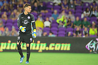 Orlando, FL - Saturday August 12, 2017: Ashlyn Harris during a regular season National Women's Soccer League (NWSL) match between the Orlando Pride and Sky Blue FC at Orlando City Stadium.