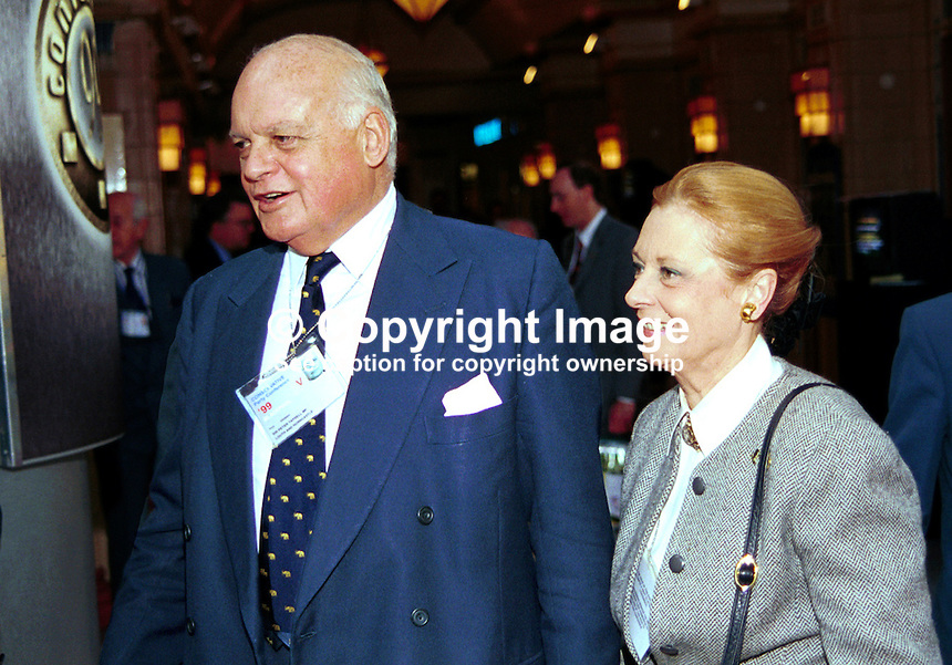 Peter Tapsell, Conservative MP, at annual conference. Woman with him not positively identified believed to be his wife. 199910122...Copyright Image from Victor Patterson, 54 Dorchester Park, Belfast, UK, BT9 6RJ..Tel: +44 28 9066 1296.Mob: +44 7802 353836.Voicemail +44 20 8816 7153.Skype: victorpattersonbelfast.Email: victorpatterson@mac.com.Email: victorpatterson@ireland.com (back-up)..IMPORTANT: If you wish to use this image or any other of my images please go to www.victorpatterson.com and click on the Terms & Conditions. Then contact me by email or phone with the reference number(s) of the image(s) concerned.