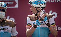 Oliver Naesen (BEL/AG2R-La Mondiale) removing his face mask at sign-on<br /> <br /> 14th Strade Bianche 2020<br /> Siena > Siena: 184km (ITALY)<br /> <br /> delayed 2020 (summer!) edition because of the Covid19 pandemic > 1st post-Covid19 World Tour race after all races worldwide were cancelled in march 2020 by the UCI