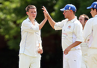 Doyle of Hornchurch Athletic (L) claims the wicket of D Lock - Hornchurch Athletic CC 3rd XI vs Noak Hill Taverners CC - Lords International Essex Cricket League at Hylands Park - 27/06/09- MANDATORY CREDIT: Gavin Ellis/TGSPHOTO - Self billing applies where appropriate - 0845 094 6026 - contact@tgsphoto.co.uk - NO UNPAID USE.