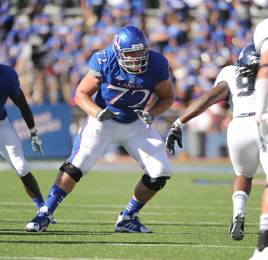 Kansas Jayhawks Tanner Hawkinson (72) in action during a game against the Rice Owls on September 8, 2012 at Memorial Stadium in Lawrence, KS. Rice beat Kansas 25-24.